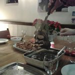 Enjoying Christmas Leg of Lamb with friends - love the sharing options