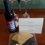 Complimentary wine & cookies for our anniversary