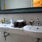 Bathroom also has a shower and a bathtub