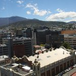 View back across to Mount Wellington from room.