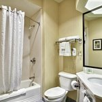 Spacious well lit bathroom