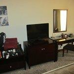 Flat-screen TV and desk