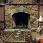 1 of 2 beautiful and massive fireplaces in lobby/lounge