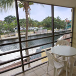 Screened-in patio overlooking the water