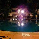 The pool night time..