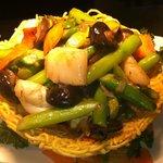 Stir fry mix seafood with Asparagus