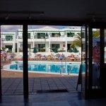 The swimming pool taken from inside the 361 Restaurant