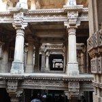 Upper storeys of Adalaj Step well showing intricate carvings