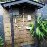 The shower of the twin thai house. No waterpressure. Very poor
