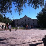 Alamo during the day, free admission donations accepted. Hotel just to the right 100 ft.