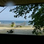 View of the jetty and beach from the dining area