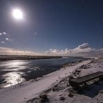 An icy moonlit scene at Hotel Ranga