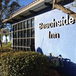 Beachside inn facade, early morning in December