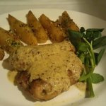 Grilled chicken with mustard sauce and wedges!