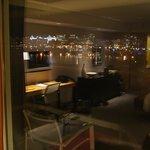 Night shot through balcony door