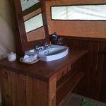 Inside tent -- bathroom basin