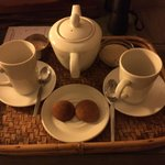 Wakeup call hot chocolate and biscuits