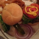 Buffalo Burger with Onion Ring.  Yummy!!