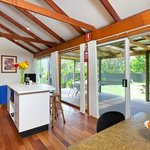 Open plan living area with large deck