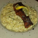 Blackened salmon Alfredo to die for. !! Delicious!!