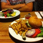 Salad and the burger. Looks good!