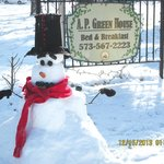 We built this snowman the day after the snow fell