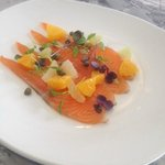 Citrus cured king salmon, cappers & baby cress