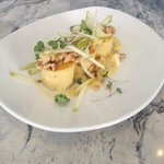 Semolino Gnocchi with oasted walnuts, gorgonzola and pears