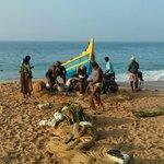 Morning fishing catch on hotel beach