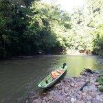 Longboat on river