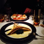 Fillet of sea bass and steamed spinach, over a dreamy sauce. Served with a rich, wonderfull mush