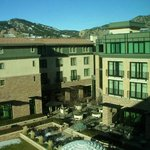 View to flatirons across hotel grounds