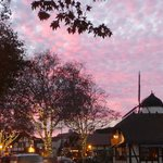 Solvang evening sky and Christmas lights