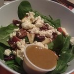 li'l, enlightened salad with spinach, apples, feta, candied pecans and cranberries