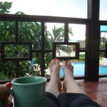 Relaxing morning on the balcony