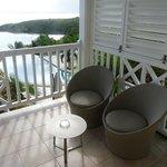 Vue sur la terrasse ... et la mer