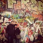 Visiting the John Lennon wall in Prague on our half-day tour