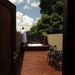 Penthouse outdoor bathing terrace and high walls