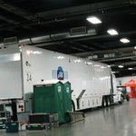 CBS truck inside stadium