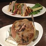 baked onion and club sandwich