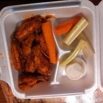 Chicken wings, supposed to be hot just a little hot but good and juicy