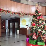 Christmas decorated hotel lobby