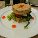 Eggplant burger with feta cheese