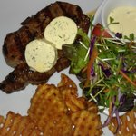 Rib eye with blue cheese butter