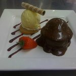 Homemade sticky toffee with icecream and butter biccy