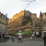 View of Edinburgh Castle from the Grassmarket - midway stop on the tour