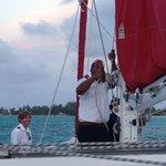 Catamaran, Sunset Sail, sails UP!