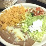 The usual rice and beans with a guacamole salad
