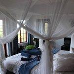 Blick vom Bett mit großem, weiten Moskitonetz