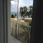 view out front door of room